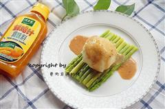 黑胡椒鸡汁芦笋土豆泥