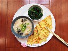 快手营养早餐-皮蛋瘦肉粥配土豆丝饼