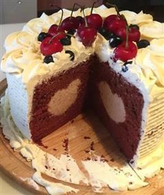 少女心萌发-中间有爱的可可戚风蛋糕