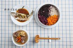 玉米排骨汤+清蒸鲈鱼+杂粮米饭