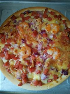 鲜虾火腿洋葱披萨