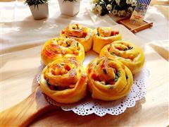 香葱火腿沙拉花环面包
