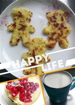 宝宝快手早餐,西葫芦鸡蛋饼+自制虾皮粉