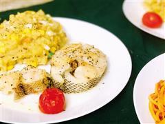 蒜香黑椒香煎深海鳕鱼&黑椒土豆泥