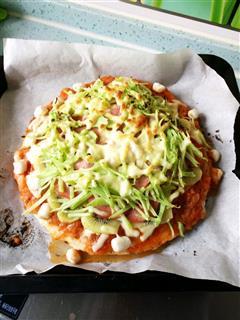 番茄笋丝火腿披萨