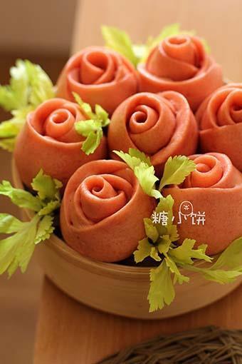 酒酿玫瑰馒头的做法图解12