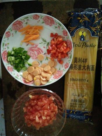 番茄火腿意大利面的做法图解1