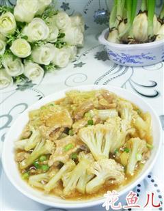 五花肉炒花菜