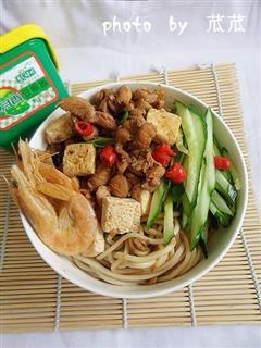 豆腐鸡丁炸酱面