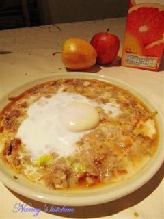 芹香肉饼蒸蛋