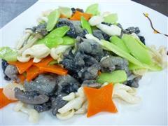 白玉菇炒乌鸡片