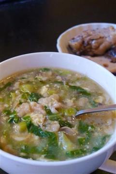 油菜虾皮疙瘩汤