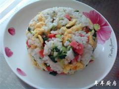 青蒜火腿蛋炒饭