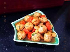 土豆煨野葱肉丸