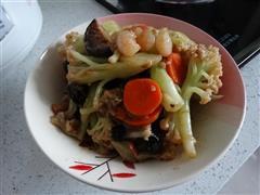 菜花红烧虾贝菇