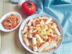 当韩国食材遇上中国味道-番茄鸡蛋炒年糕