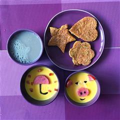 宝宝爱心早餐鸡蛋羹和鸡蛋饼
